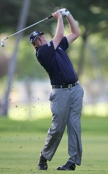 HONOLULU - JANUARY 12: Steve Marino hits his second shot on the 15th hole during the third round of the Sony Open at the Waialae Country Club on January 12, 2008 in Honolulu, Oahu, Hawaii.  (Photo by Jonathan Ferrey/Getty Images)