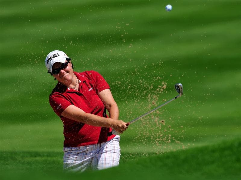 EVIAN-LES-BAINS, FRANCE - JULY 25: Becky Brewerton of Wales plays her bunker shot on the nineth hole hole during the third round of the Evian Masters at the Evian Masters Golf Club on July 25, 2009 in Evian-les-Bains, France.  (Photo by Stuart Franklin/Getty Images)