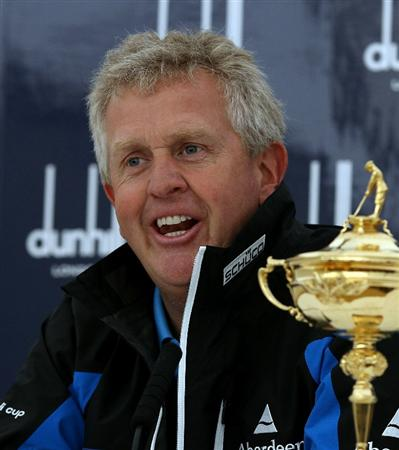 ST ANDREWS, SCOTLAND - OCTOBER 06:  European Ryder Cup captain Colin Montgomerie of Scotland talks to the media during the practice round of The Alfred Dunhill Links Championship at The Old Course on October 6, 2010 in St Andrews, Scotland.  (Photo by Scott Halleran/Getty Images)