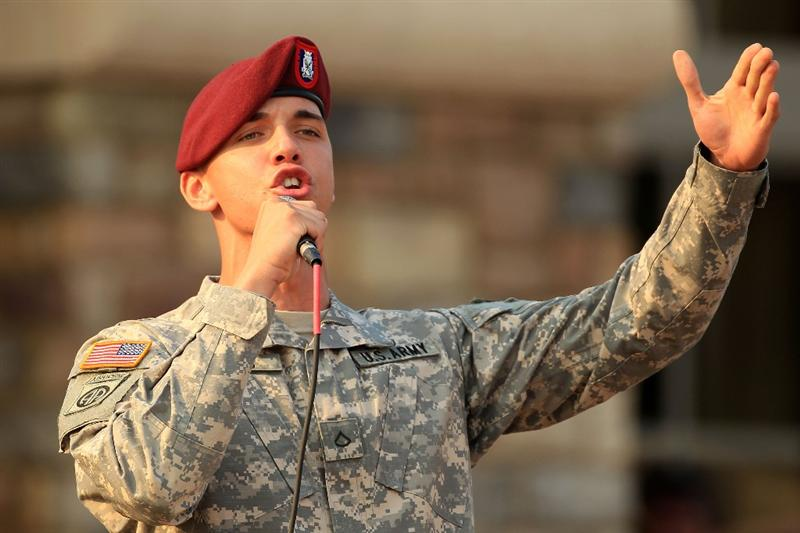PONTE VEDRA BEACH, FL - MAY 11:  A member of the 82nd Airborne All-American Chorus perform during the Military Appreciation Ceremony prior to the start of THE PLAYERS Championship held at THE PLAYERS Stadium course at TPC Sawgrass on May 11, 2011 in Ponte Vedra Beach, Florida.  (Photo by Streeter Lecka/Getty Images)