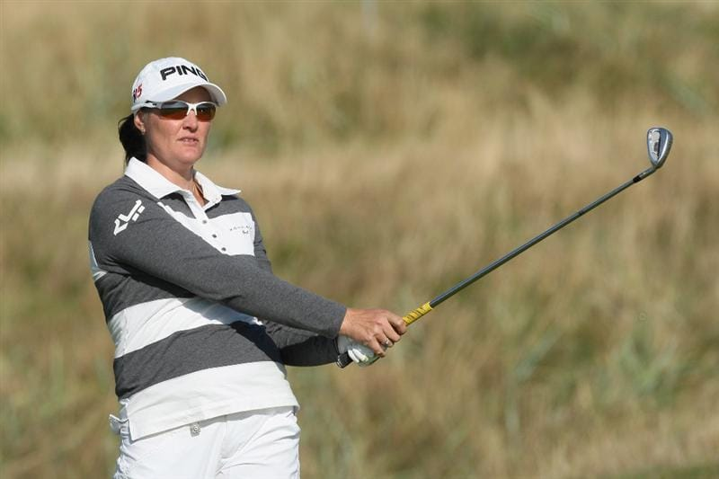 LYTHAM ST ANNES, ENGLAND - JULY 30:  Maria Hjorth of Sweden hits her third shot on the 15th hole during the first round of the 2009 Ricoh Women's British Open Championship held at Royal Lytham St Annes Golf Club, on July 30, 2009 in  Lytham St Annes, England.  (Photo by David Cannon/Getty Images)