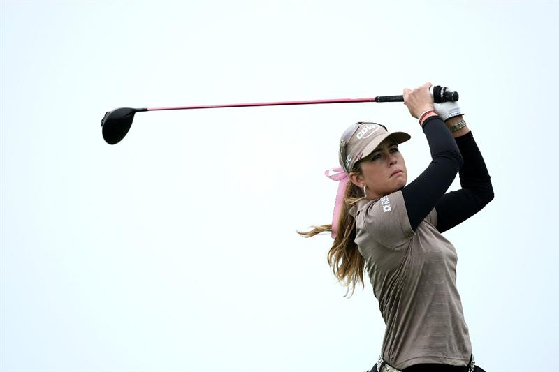 HALF MOON BAY, CA - OCTOBER 04:  Paula Creamer tees off on the 11th hole during the third round of the Samsung World Championship at the Half Moon Bay Golf Links Ocean Course on October 4, 2008 in Half Moon Bay, California.  (Photo by Jonathan Ferrey/Getty Images)