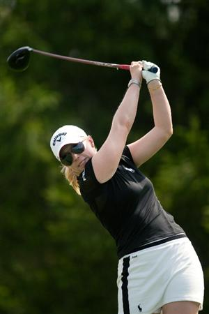 SPRINGFIELD, IL - JUNE 11: Morgan Pessel follows through on a tee shot during the second round of the LPGA State Farm Classic at Panther Creek Country Club on June 11, 2010 in Springfield, Illinois. (Photo by Darren Carroll/Getty Images)