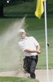 GRAND BLANC, MI - JUNE 28: Jon Mills hits from a bunker to the ninth green during the third round of the Buick Open at Warwick Hills Golf and Country Club on June 28, 2008 in Grand Blanc, Michigan.  (Photo by Gregory Shamus/Getty Images)