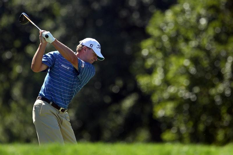 LEMONT, IL - SEPTEMBER 12:  Steve Stricker hits a shot on the ninth hole during the final round of the BMW Championship at Cog Hill Golf & Country Club on September 12, 2010 in Lemont, Illinois.  (Photo by Scott Halleran/Getty Images)