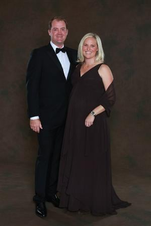 NEWPORT, WALES - SEPTEMBER 29:  Peter Hanson of the European Ryder Cup team poses with his wife Sanna prior to the 2010 Ryder Cup Dinner at the Celtic Manor Resort on September 29, 2010 in Newport, Wales.  (Photo by David Cannon/Getty Images)