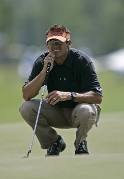 PGA Tour-Zurich Classic of New Orleans-1st Round:  Todd Fischer lines up a putt on the 15th hole during the first round of the Zurich Classic being played at The TPC of New Orleans in New Orleans, Louisiana on April 28, 2005.Photo by Mike Ehrmann/WireImage.com