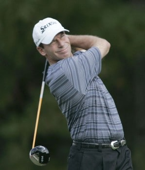 John Huston Hits his drive on the second hole during the third round of the 2005 Chrysler Classic of Greensboro at Forest Oaks Country Club in Greensboro, North Carolina on October 1, 2005.Photo by Michael Cohen/WireImage.com