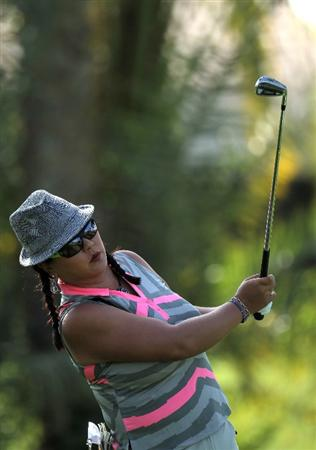 RANCHO MIRAGE, CA - APRIL 02: Christina Kim hits her tee shot on the 14th hole during the second round of the Kraft Nabisco Championship at Mission Hills Country Club on April 2, 2010 in Rancho Mirage, California.  (Photo by Stephen Dunn/Getty Images)