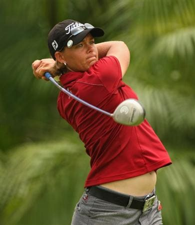SINGAPORE - MARCH 07:  Katherine Hull of Australia tees off on the ninth hole during the third round of the HSBC Women's Champions at Tanah Merah Country Club on March 7, 2009 in Singapore.  (Photo by Andrew Redington/Getty Images)