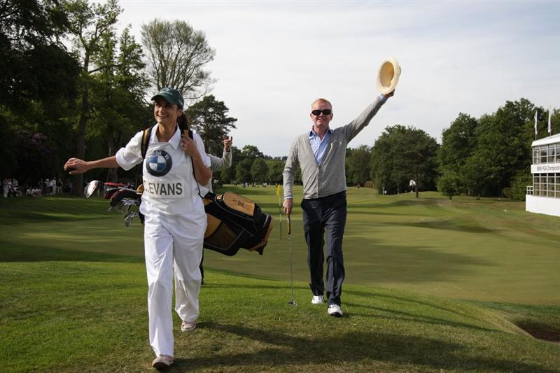 VIRGINIA WATER, ENGLAND - MAY 25:   Chris Evans with wife Natasha Shishmanian during the Pro-Am round prior to the BMW PGA Championship at Wentworth Club on May 25, 2011 in Virginia Water, England.  (Photo by David Cannon/Getty Images)