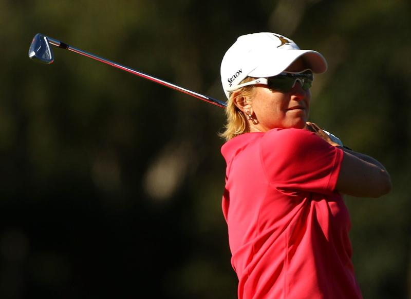 MELBOURNE, AUSTRALIA - MARCH 11:  Karrie Webb of Australia hits an approach shot on the 14th hole during round one of the 2010 Women's Australian Open at The Commonwealth Golf Club on March 11, 2010 in Melbourne, Australia.  (Photo by Mark Dadswell/Getty Images)