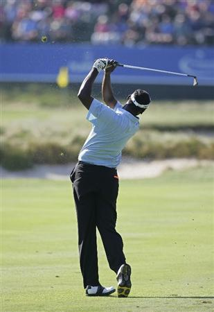 NORTON, MA - SEPTEMBER 04:  Vijay Singh of Fiji Islands plays a shot from the fairway during the first round of the Deutsche Bank Championship at TPC Boston held on September 4, 2009 in Norton, Massachusetts.  (Photo by Michael Cohen/Getty Images)