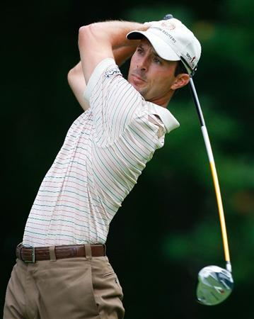 NORTON, MA - AUGUST 29: Mike Weir hits his tee shot during the first round of the Deutsche Bank Championship at the TPC Boston on August 29, 2008 in Norton, Massachusetts. (Photo by Jim Rogash/Getty Images)