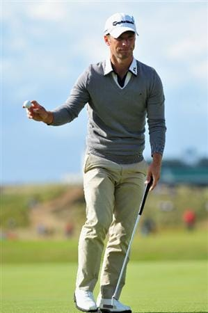TURNBERRY, SCOTLAND - JULY 19:  Richard S Johnson of Sweden acknowledges the crowd during the final round of the 138th Open Championship on the Ailsa Course, Turnberry Golf Club on July 19, 2009 in Turnberry, Scotland.  (Photo by Stuart Franklin/Getty Images)