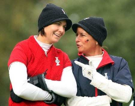 HALMSTAD, SWEDEN - SEPTEMBER 15:  Laura Diaz and Sherri Steinhauer of the USA wait in the second fairway during the morning foursome matches of the 2007 Solheim Cup at on September 15, 2007 in Halmstad, Sweden.  (Photo by Scott Halleran/Getty Images)