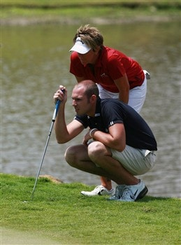 AVENTURA, FL - APRIL 26:  Beth Bader and partner Aaron Theobald line up a putt on the 18th hole during the third round of the Stanford International Pro-Am at Fairmont Turnberry Isle Resort & Club on April 26, 2008 in Aventura, Florida.  (Photo by Doug Benc/Getty Images)