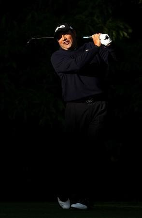 CHARLOTTE, NC - APRIL 29:  Angel Cabrera of Argentina reacts to a tee shot on the 12th hole during the first round of the Quail Hollow Championship at Quail Hollow Country Club on April 29, 2010 in Charlotte, North Carolina.  (Photo by Streeter Lecka/Getty Images)