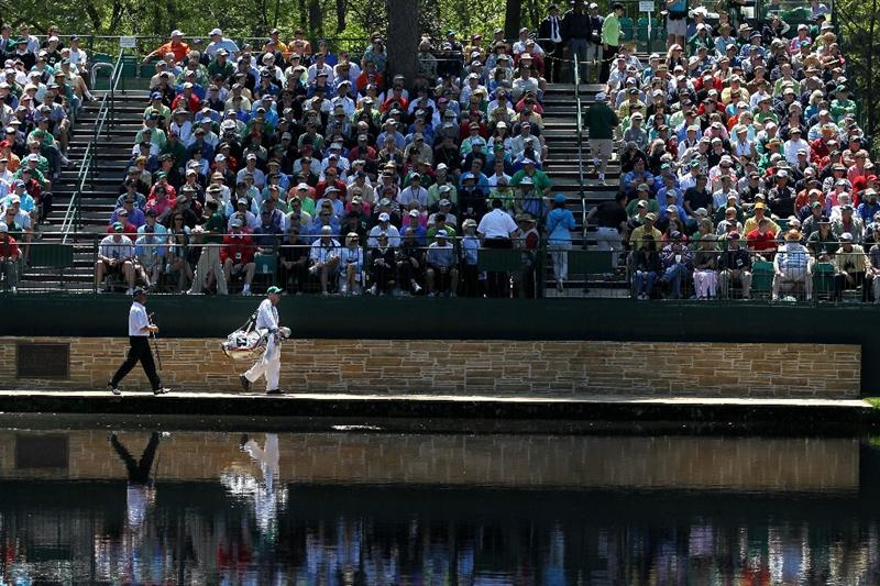 AUGUSTA, GA - APRIL 09:  Fred Couples walks with his caddie Joe Lacava on the 15th hole during the second round of the 2010 Masters Tournament at Augusta National Golf Club on April 9, 2010 in Augusta, Georgia.  (Photo by Jamie Squire/Getty Images)