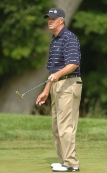 John Harris reacts to a missed birdie attempt on the fifth green during the first round of the 2005 U.S. Senior Open Championship at NCR Country Club, July 28, 2005 in Kettering, Ohio.Photo by Steve Grayson/WireImage.com