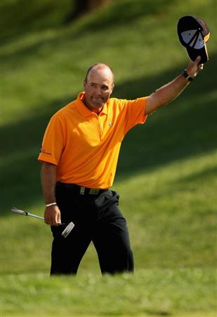 GIRONA, SPAIN - MAY 03:  Thomas Levet of France acknowledges the crowd en-route to winning the Open de Espana on a score of -18 under par at the PGA Golf Catalunya on May 3, 2009 in Girona, Spain.  (Photo by Warren Little/Getty Images)
