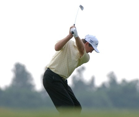 Des Smyth drives from the third  tee  during the second round of the 2005 Blue Angels Class  May 14 in Milton, Fl.Photo by Al Messerschmidt/WireImage.com