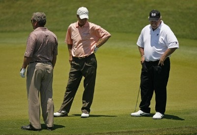 L-R Fuzzy Zoeller, Ben Crenshaw and Craig Stadler look at the water after Ben Crenshaw hit into the water out of the sand on the 17th hole during the second round of Senior PGA Championship on the Ocean Course at the Kiawah Island Resort on May 25, 2007 in Kiawah Island, South Carolina. 2007 Senior PGA Championship - Second RoundPhoto by Mike Ehrmann/WireImage.com