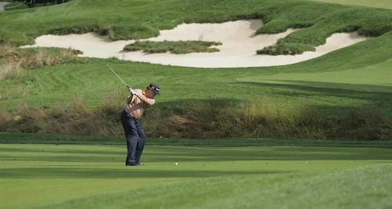 POTOMAC, MD - OCTOBER 09:  Michael Allen hits his third shot on the second hole during the third round of the Constellation Energy Senior Players Championship held at TPC Potomac at Avenel Farm on October 9, 2010 in Potomac, Maryland.  (Photo by Michael Cohen/Getty Images)