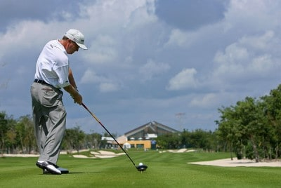 Jeff Sluman hits his tee shot on the 18th hole during the first round Mayakoba Golf Classic at El Camaleon at Mayakoba in Playa Del Carmen, Mexico on February 22, 2007. PGA TOUR - 2007 Mayakoba Golf Classic - First RoundPhoto by Mike Ehrmann/WireImage.com