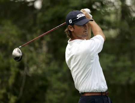 Patrick Moore  on the 15th hole during the 2nd round of the Chitimacha Open being held at Le Triomphe Golf Club in Broussard, Louisiana on March 25, 2005.