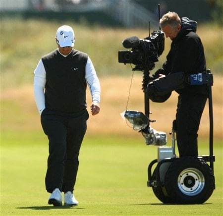 SOUTHPORT, UNITED KINGDOM - JULY 19:  David Duval of USA is watched by a cameraman during the third round of the 137th Open Championship on July 19, 2008 at Royal Birkdale Golf Club, Southport, England.  (Photo by Richard Heathcote/Getty Images)