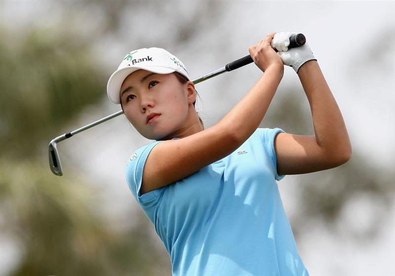 PHOENIX - MARCH 29:  In-Kyung Kim of South Korea tees off on the second hole during the fourth round of the J Golf Phoenix LPGA International golf tournament at Papago Golf Course on March 29, 2009 in Phoenix, Arizona.  (Photo by Christian Petersen/Getty Images)
