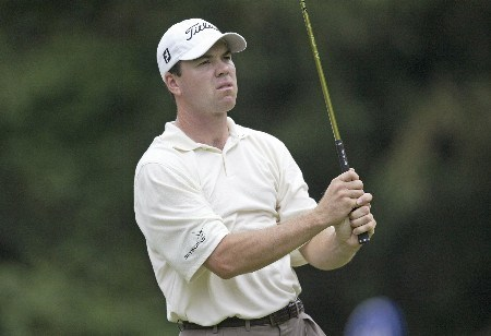 Arron Oberholser plays the 10th hole during the second round of the Booz Allen Classic, Congressional CC, Bethesda, MD. Friday, June 10th, 2005Photo by Hunter Martin/WireImage.com