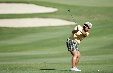 KAPOLEI, HI - FEBRUARY 21: Christina Kim hits her third shot on the 13th hole during the first round of the Fields Open on February 21, 2008 at the Ko Olina Golf Club in Kapolei, Hawaii. (Photo by Andy Lyons/Getty Images)