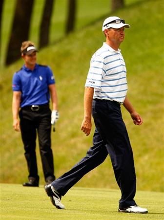 DUBLIN, OH - JUNE 06:  Davis Love III and Luke Donald of England waits on the 14th hole during the third round of the Memorial Tournament at the Muirfield Village Golf Club on June 6, 2009 in Dublin, Ohio.  (Photo by Scott Halleran/Getty Images)