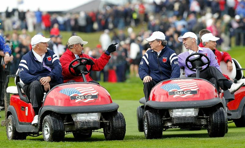 NEWPORT, WALES - OCTOBER 02:   USA Team Captain Corey Pavin (R) rides in a buggy during the rescheduled Afternoon Foursome Matches during the 2010 Ryder Cup at the Celtic Manor Resort on October 2, 2010 in Newport, Wales. (Photo by Sam Greenwood/Getty Images)