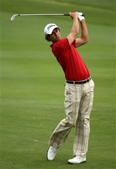 IRVING, TX - APRIL 25:  Adam Scott of Australia hits from the fairway on the 14th hole during the second round of the EDS Byron Nelson Championship at TPC Four Seasons Resort Las Colinas on April 25, 2008 in Irving, Texas.  (Photo by Stephen Dunn/Getty Images)