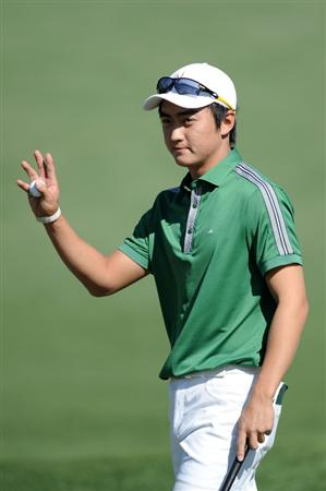 AUGUSTA, GA - APRIL 07:  Jin Jeong of Korea reacts to a birdie on the second hole during the first round of the 2011 Masters Tournament at Augusta National Golf Club on April 7, 2011 in Augusta, Georgia.  (Photo by Harry How/Getty Images)