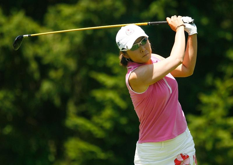 BETHLEHEM, PA - JULY 12:  Candie Kung of Taiwan hits her tee shot on the third hole during the final round of the 2009 U.S. Women's Open at the Saucon Valley Country Club on July 12, 2009 in Bethlehem, Pennsylvania.  (Photo by Scott Halleran/Getty Images)