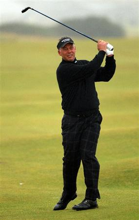 ST ANDREWS, SCOTLAND - OCTOBER 08:  Darren Clarke of Northern Ireland plays his second shot to the fifth hole during the second round of The Alfred Dunhill Links Championship at The Old Course on October 8, 2010 in St Andrews, Scotland.  (Photo by Warren Little/Getty Images)