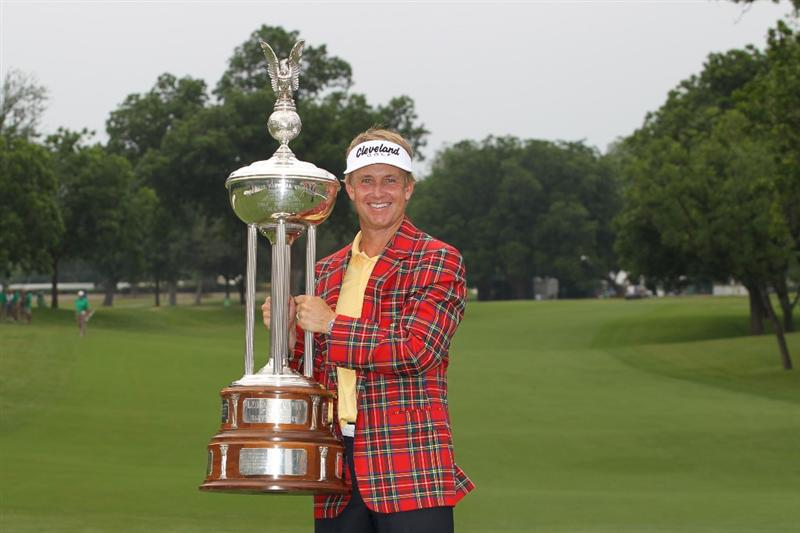 FORT WORTH, TX - MAY 22: David Toms poses with the championship trophy after winning the Crowne Plaza Invitational at Colonial Country Club on May 22, 2011 in Fort Worth, Texas. (Photo by Hunter Martin/Getty Images)