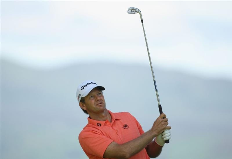LUSS, UNITED KINGDOM - JULY 10:  Retief Goosen of South Africa plays his tee shot at the 8th hole during the Second Round of The Barclays Scottish Open at Loch Lomond Golf Club on July 10, 2009 in Luss, Scotland. (Photo by Andrew Redington/Getty Images)