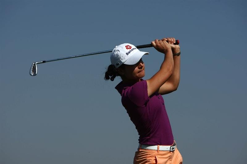 MORELIA, MEXICO- APRIL 23:  Lorena Ochoa of Mexico tees off during the first round of the Corona Championship at the Tres Marias Residential Golf Club on April 23, 2009 in Morelia, Michoacan, Mexico. (Photo by Donald Miralle/Getty Images)