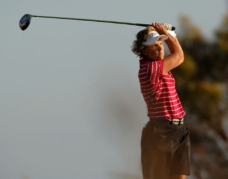 Tina Barrett hits from the fifth tee during the final round of the 2005 Office Depot Championship at Trump National Golf Club Los Angeles in Rancho Palos Verdes, California October 2, 2005.Photo by Steve Grayson/WireImage.com