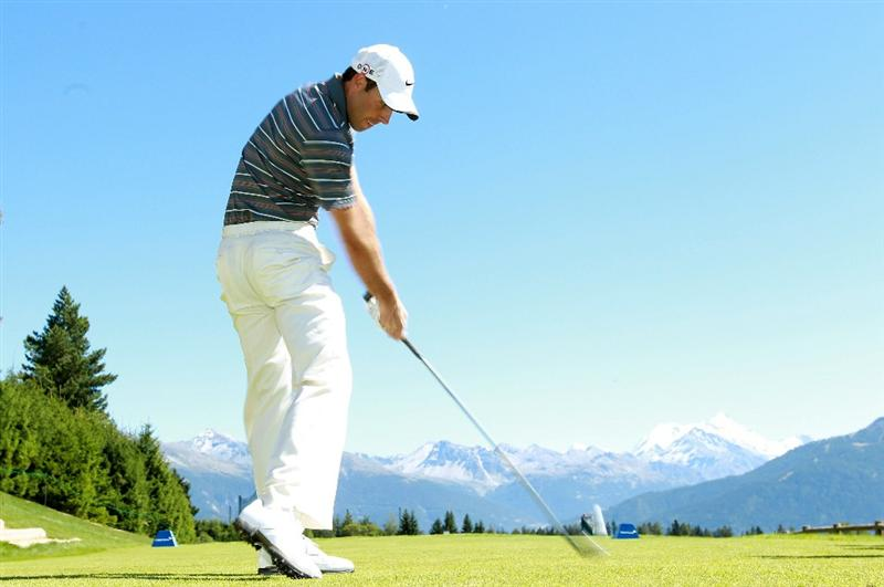 CRANS, SWITZERLAND - SEPTEMBER 01:  Charl Schwartzel of South Africa tees off on the seventh hole during the Pro Am prior to the start of The Omega European Masters at Crans-Sur-Sierre Golf Club on September 1, 2010 in Crans Montana, Switzerland.  (Photo by Warren Little/Getty Images)