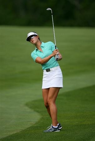 GLADSTONE, NJ - MAY 22: Michelle Wie hits her second shot on the seventeenth hole during the third round of the Sybase Match Play Championship at Hamilton Farm Golf Club on May 22, 2010 in Gladstone, New Jersey. (Photo by Hunter Martin/Getty Images)