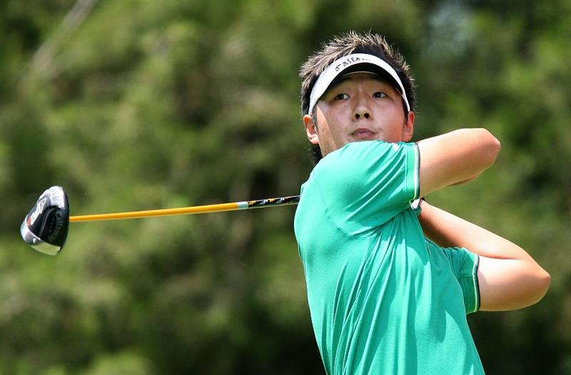 BETHESDA, MD - JULY 04:  Danny Lee of New Zealand hits his tee shot on the third hole during the third round of the AT&T National at the Congressional Country Club on July 4, 2009 in Bethesda, Maryland.  (Photo by Hunter Martin/Getty Images)