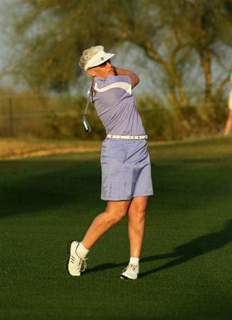 PHOENIX, AZ - MARCH 18:  LPGA Hall of Fame golfer Patty Sheehan hits a shot on the first fairway as they play an honorary roung during the first round of the RR Donnelley LPGA Founders Cup at Wildfire Golf Club on March 18, 2011 in Phoenix, Arizona.  (Photo by Stephen Dunn/Getty Images)