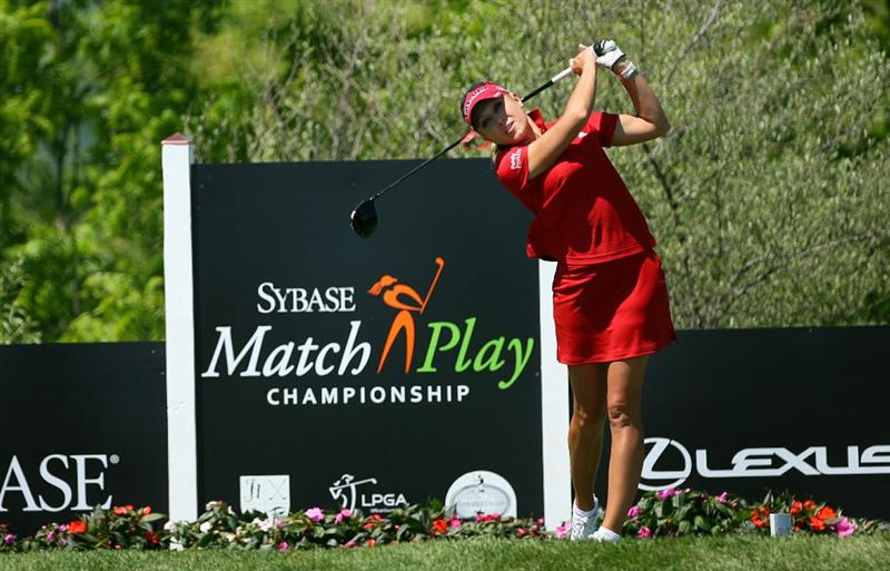 GLADSTONE, NJ - MAY 20 : Natalie Gulbis hits her tee shot on the 14th hole during the first round of the Sybase Match Play Championship at Hamilton Farm Golf Club on May 20, 2010 in Gladstone, New Jersey. (Photo by Hunter Martin/Getty Images)