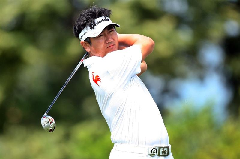 CHASKA, MN - AUGUST 16:  Y.E. Yang of South Korea hits his tee shot on the first hole during the final round of the 91st PGA Championship at Hazeltine National Golf Club on August 16, 2009 in Chaska, Minnesota.  (Photo by David Cannon/Getty Images)
